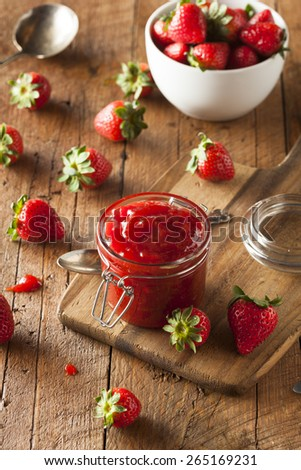 Homemade Organic Strawberry Jelly in a Jar - stock photo