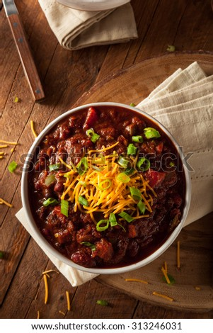 Homemade Organic Vegetarian Chili with Beans and Cheese - stock photo