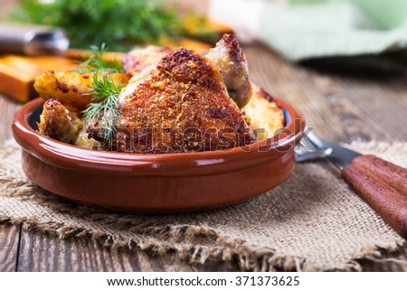 Homemade oven fried parmesan crusted chicken thighs - stock photo