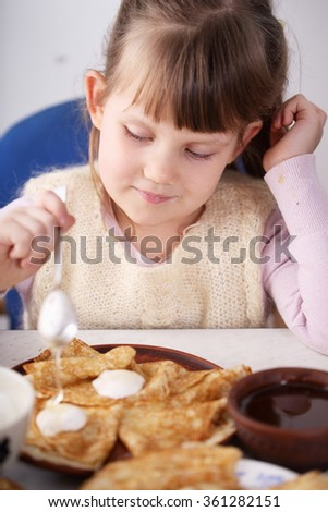homemade pancakes with various fillings. snack for Shrovetide. - stock photo