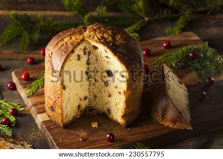 Homemade Panettone Fruit Cake Ready for Christmas - stock photo