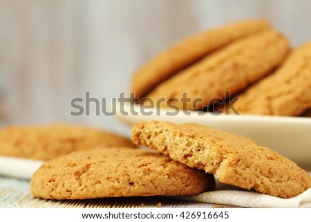 Homemade pastry. Oatmeal cookies on the table. - stock photo