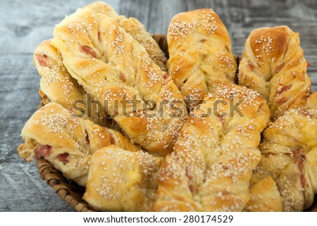 Homemade Pastry With Bacon - stock photo