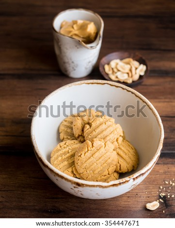 Homemade peanut butter cookies in a bowl, selective focus - stock photo