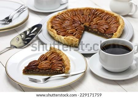 homemade pecan pie - stock photo