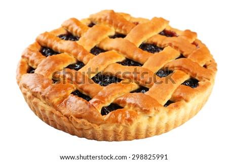Homemade pie isolated on white - stock photo
