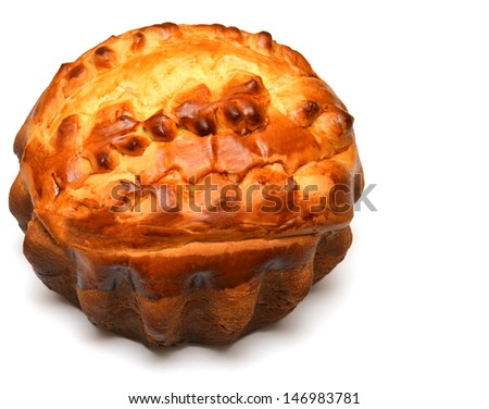 Homemade pie isolated on white background