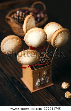Homemade pie pops with jam on the dark vintage  table...Selective focus and small depth of field. - stock photo