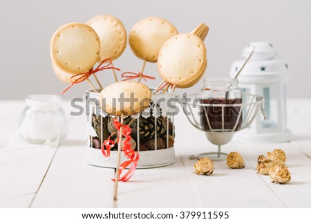 Homemade pie pops with jam on the white vintage  table...Selective focus and small depth of field. - stock photo