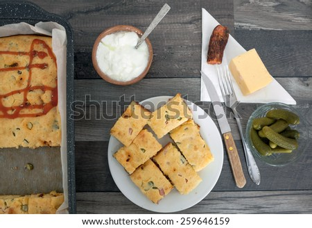 Homemade Pie with Cheese Sausage and Vegetables - stock photo