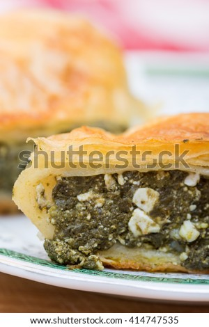 Homemade pie with spinach on a plate. - stock photo
