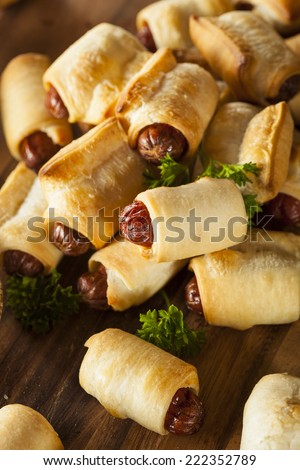 Homemade Pigs in a Blanket Ready to Eat - stock photo