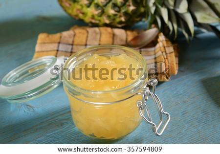 Homemade pineapple jam - stock photo