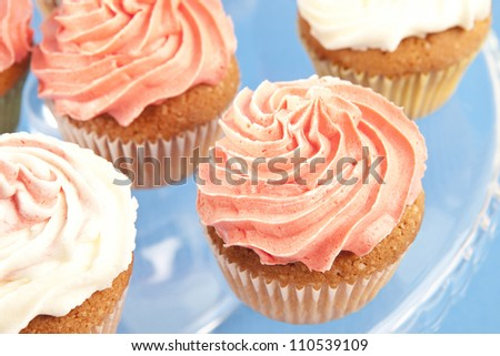 Homemade pink and white cupcakes on the plate - stock photo