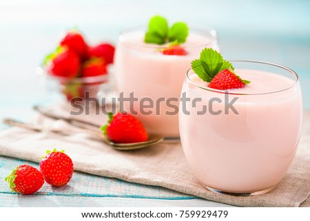 Homemade pink  yogurt with fresh strawberry