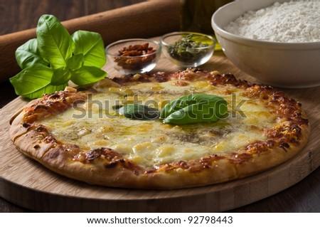 Homemade pizza. - stock photo