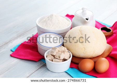 homemade pizza and ingredients - food and drink - stock photo