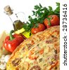 Homemade pizza and its ingredients: pepper, olive oil, cheese, mushrooms - stock photo
