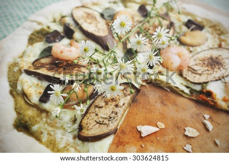 Homemade Pizza slice. Toned image. - stock photo