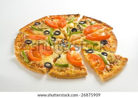 homemade pizza with fresh tomato olive mushroom cheese isolated - stock photo