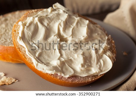 Homemade Plain Egg Bagels Ready to Eat - stock photo