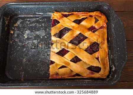 Homemade Plum Pie - stock photo