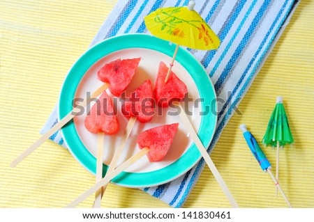 homemade popsicle with slices of watermelon  in heart shape - stock photo