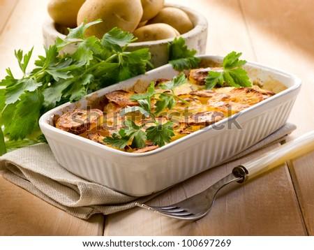 Homemade potato cake, vegetarian food - stock photo