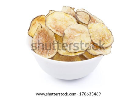 Homemade Potato chips bowl with cheese, isolated on white - stock photo