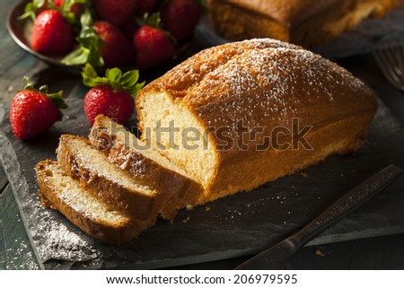 Homemade Pound Cake with Strawberries and Cream - stock photo