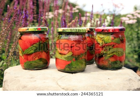 Homemade preserves, tomatoes with basil in olive oil. - stock photo