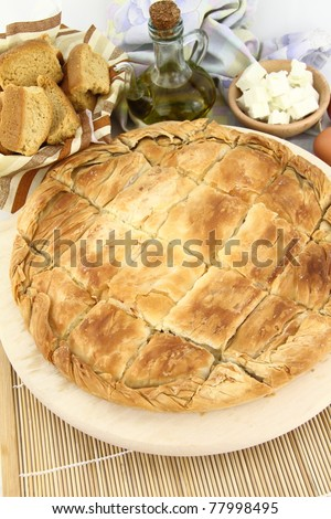 Homemade puff cheese pie with filo pastry - stock photo