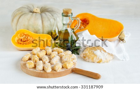 homemade pumpkin gnocchi ready for cooking - stock photo