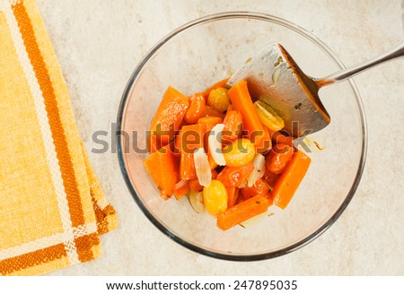 Homemade Pumpkin Soup prepared for autumn with pumpkin, yellow tomato and spices. Natural food concept. Top view - stock photo