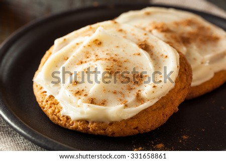 Homemade Pumpkin Spice Cookies with Cream Cheese Frosting - stock photo