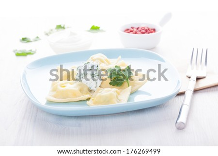 Homemade ravioli on a blue plate with sauce and seasonings - stock photo