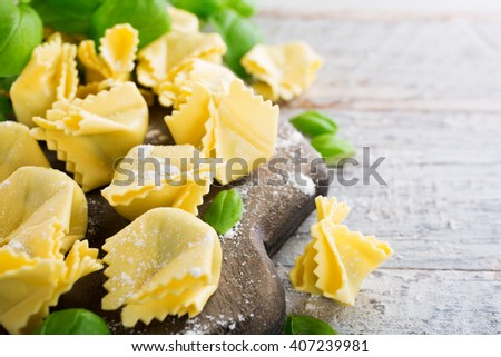 Homemade raw Italian saccottini with green pesto - stock photo