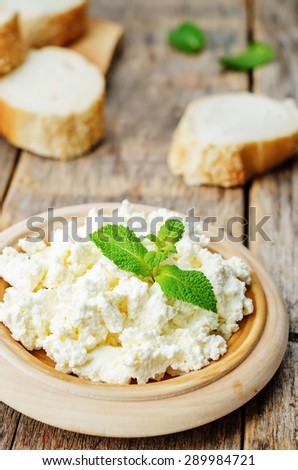 homemade ricotta with bread decorated with mint. the toning. selective focus - stock photo