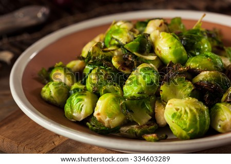 Homemade Roasted Brussel Sprouts with Salt and Pepper - stock photo