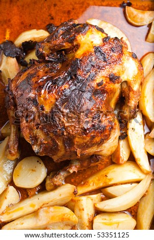 homemade roasted chicken with potatoes