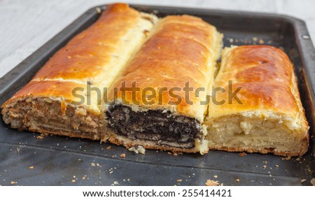 Homemade roll ith poppy seeds, walnut and cheese  - stock photo