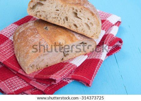 Homemade Rustic Ciabatta Bread with olives - stock photo