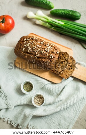 homemade rye bread with sunflower seeds - stock photo
