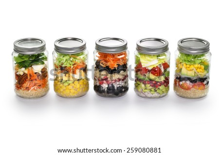 homemade salad in glass jar - stock photo