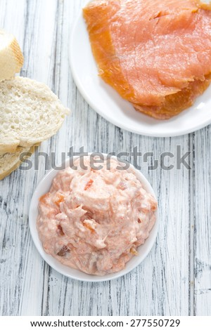Homemade Salmon Salad with fresh Dill (close-up shot) - stock photo