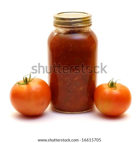 Homemade salsa made with tomatoes, shot against a white background - stock photo