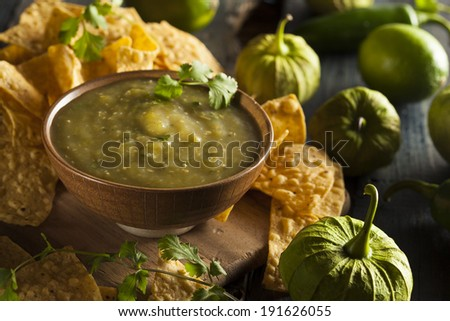 Homemade Salsa Verde with Cilantro and Tortilla Chips - stock photo