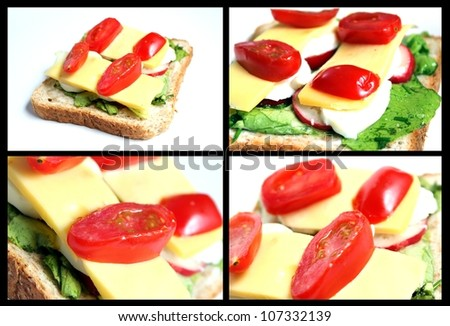 homemade sandwich collage - stock photo