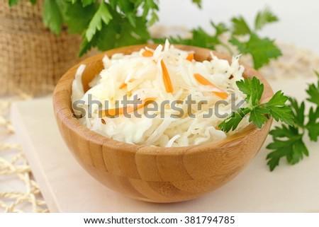 Homemade sauerkraut in a bowl - stock photo