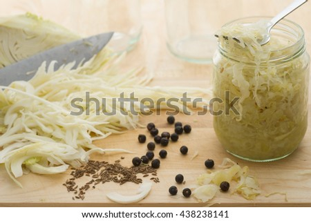 Homemade sauerkraut with cumin and juniper.